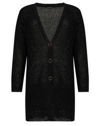 Nocturne Ribbed Knit Cardigan-black