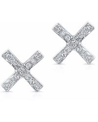 Anne Sisteron - White Gold Diamond X Stud Earrings - Lyst
