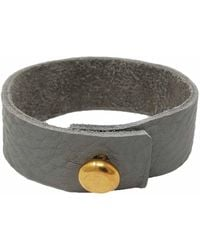 N'damus London Mens Grey Leather Bracelet With Large Brass Button