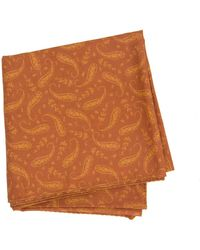 40 Colori Rust Paisley Printed Cotton Bandana - Orange