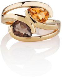 Manja - Citrine & Smoky Quartz Love Bird Ring Gold - Lyst