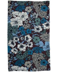 lords of harlech Neck Gaiter In Linear Floral Bordeaux - Blue