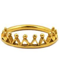 Annabelle Lucilla Jewellery Dainty Stella Crown Ring Gold - Metallic