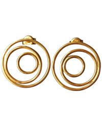 """Elena Jewelry Concepts """"three Faces Of The Moon"""" Earrings In Gold-plated Silver - Metallic"""