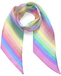 INGMARSON Stripy Silk Neck Scarf Rainbow Pastel - Multicolour