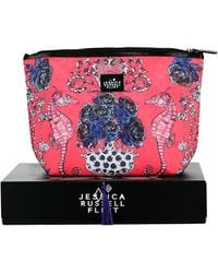 Jessica Russell Flint - The Seahorses In The Rose Garden Giant Leather & Waxed Canvas Washbag - Lyst