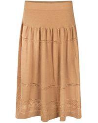 STUDIO MYR Sweety Calf-length Bohemian Chic Knitted Skirt - Natural