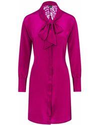 Sophie Cameron Davies Berry Pink Silk Mini Bow Dress