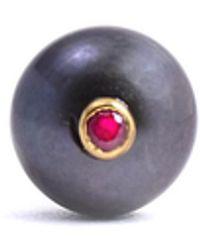 Lee Renee Peacock Pearl & Ruby Tie Pin - Multicolour