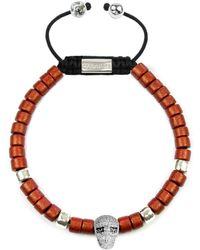 Clariste Jewelry - Men's Ceramic Bead Bracelet Red With Silver Skull - Lyst
