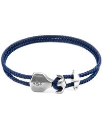 Anchor & Crew Navy Blue Delta Anchor Silver & Rope Bracelet