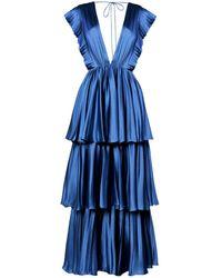 True Decadence Teal Satin Pleated Tiered Midaxi Dress - Blue