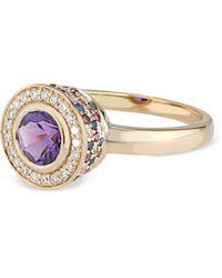 Ri Noor Diamond Amethyst Rhodolite & Blue Sapphire Ring - Multicolor