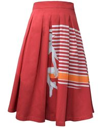 My Pair Of Jeans Red Cannes Midi Skirt
