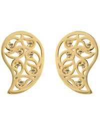 Sonal Bhaskaran - Reya Gold Paisley Earrings Yellow Cz - Lyst