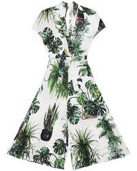TOMCSANYI Budapest Plants Print Kimono Jumpsuit - Green