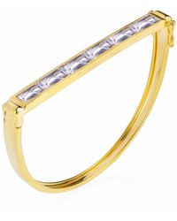 Neola - Equilibrium Gold Bangle With Pink Amethyst - Lyst