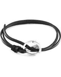 Anchor & Crew Coal Black Ketch Anchor Silver & Flat Leather Bracelet - Metallic