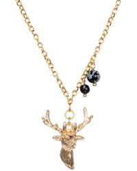Nadia Minkoff - Stag Charm Necklace Gold With Black Snowflake Obsidian - Lyst