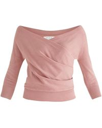 Paisie Chelsea Wrap Top In Coral Pink