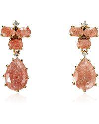 Cielle - Pastel Stone Teardrop Earrings Pink - Lyst