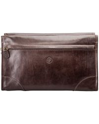 Maxwell Scott Bags - The Tanta Luxury Large Leather Wash Bag Chocolate Brown - Lyst