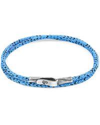 Anchor & Crew Blue Noir Liverpool Silver & Rope Bracelet (m)