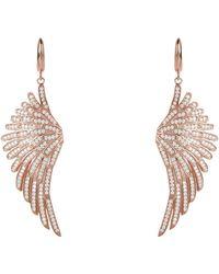 LÁTELITA London Angel Wing Drop Earring Rosegold White - Pink