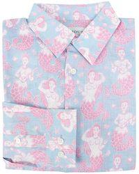Pink House Mustique Mens Linen Shirt Mermaid - Blue
