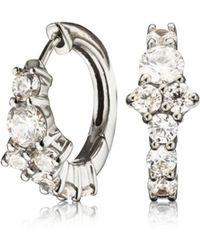 Lily & Roo - Small Silver Cluster Diamond Style Huggie Hoop Earrings - Lyst