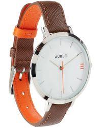 Auree Montmartre Sterling Silver Watch With Chestnut Brown & Orange Strap - Metallic