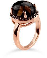 Bellus Domina Rose Gold Plated Quartz Oval Ring - Metallic