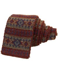 40 Colori Burgundy Fair Isle Wool Knitted Tie - Multicolour