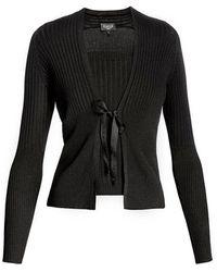 Rumour London Lea Viscose Blend Fine Knit Cardigan & Vest - Black