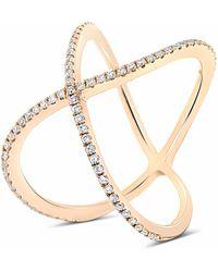 Cosanuova Modern X Diamond Ring 18k Rose Gold - Metallic