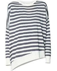 Paisie - Cream & Black Striped Top With Asymmetric Hem - Lyst