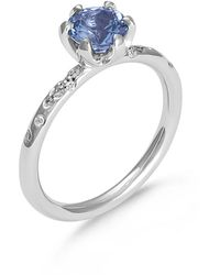 Hargreaves Stockholm 18ct Gold & Spinel Single Stone Ring With Diamond Set Shoulders - Metallic