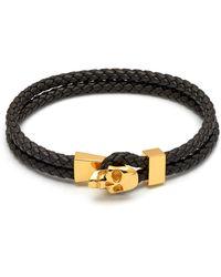 Northskull Micro Atticus Skull Hook Leather Bracelet In Black & Gold
