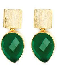 Magpie Rose Green Onyx Teardrop Earrings