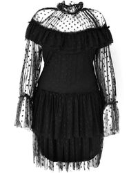 LEFON New York Polka-dot High Neck Mini Dress - Black