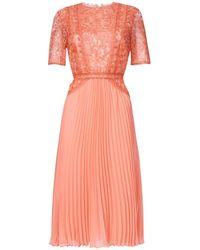 True Decadence Peach Lace Midi Dress Pleated Skater Skirt - Orange