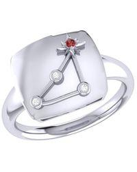 LMJ Capricorn Goat Constellation Signet Ring In Sterling Silver - Metallic