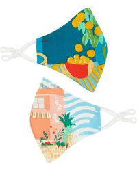 Emily and Fin Set Of Two Contour Masks In The Orangery & Sorrento Summer - Blue