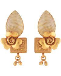 Kastur Jewels Carved Mother Of Pearl Flower Earrings - Metallic