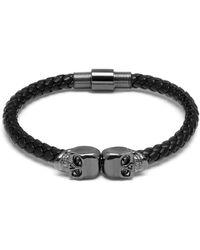 Northskull Black Nappa Leather / Gunmetal Twin Skull Bracelet