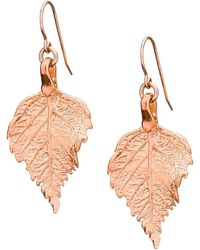 Chupi | Tiny Raspberry Leaf Earrings Rose Gold | Lyst