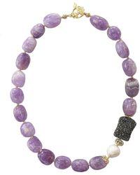 Farra - Nugget Amethyst & Rhinestones Short Necklace - Lyst