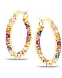 Trésor Multicolour Stones Square Hoop Earrings In 18k Yellow Gold - Metallic