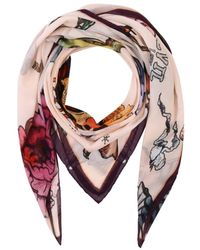 Klements Large Square Scarf In Tattoo Print - Pink