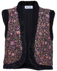 The Bee's Sneeze Quilted Faux-fur Vest Baroque Flower Print - Black